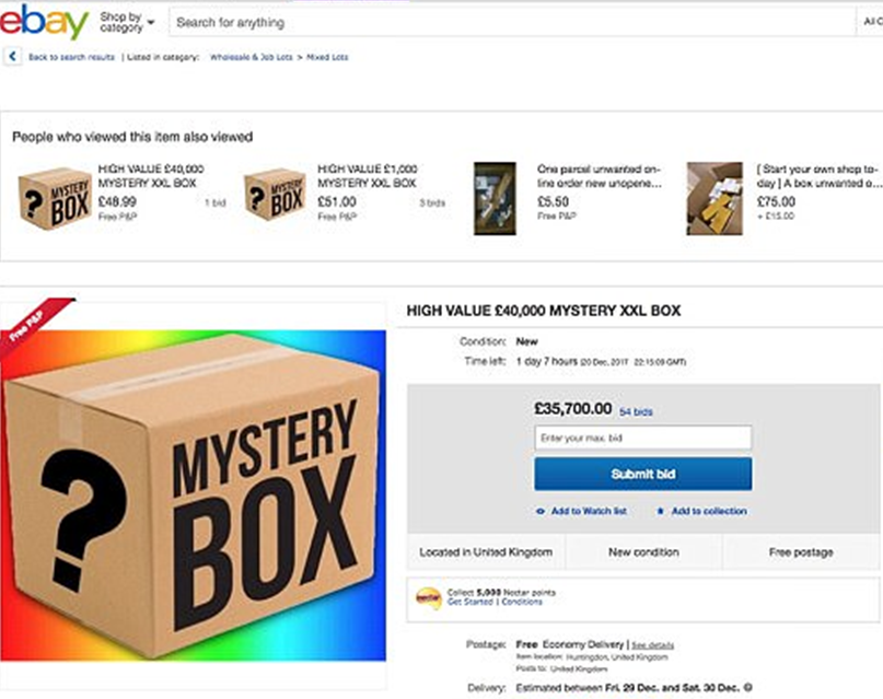 Shopper Bids 35,000 On eBay Mystery Box img1